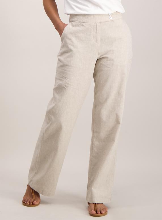 Womens Beige Cross Hatch Linen Trousers Tu Clothing