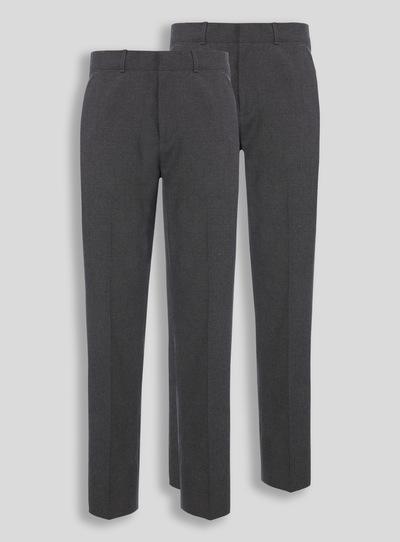 Online Exclusive Grey Longer Leg Trousers 2 Pack (10-16 years)