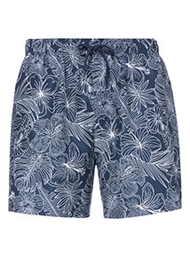 Navy Floral Print Swim Shorts