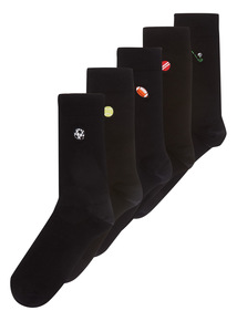 Black Embroidery Socks 5 Pack