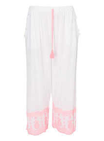 Embroidered Hem Cropped Trousers