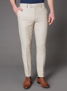 Stone Herringbone Tailored Fit Linen Suit Trouser