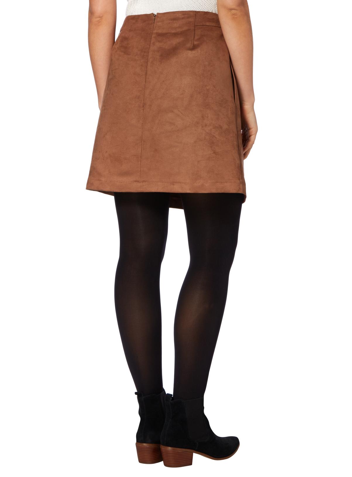 Womens Camel Suede Skirt | Tu clothing