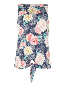Multicoloured Floral Tie Front Vest