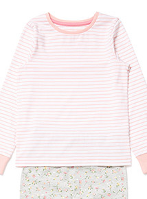 2 Pack Pink Ditzy Floral and Stripe Pyjamas (4-14 years)