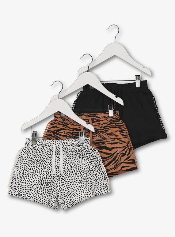 824080c91 Kids Multicoloured Animal Print Shorts 3 Pack (3 - 14 Years) | Tu clothing