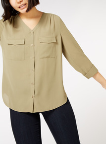 Online Exclusive V Neck Roll Sleeve Shirt
