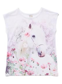 Pink Horse Print T-Shirt (3-14 years)