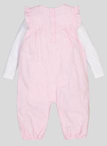 Pink Dungarees & Bodysuit Set (0-24 months)