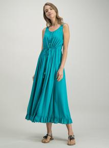 a1f54cf60 Green Button-Through Woven Maxi Dress