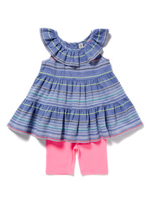Multicoloured Stripe Woven Top and Leggings Set (9 months-6 years)