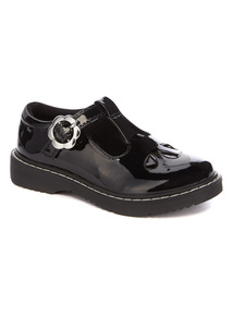 Black Patent Buckle T-Bar Shoes