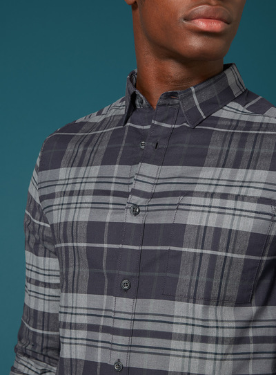 Premium Black & Grey Large Scale Check Shirt