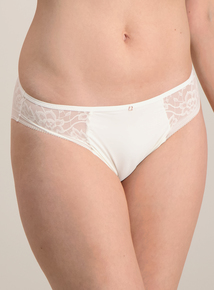 Cream Lace Trim Brazilian Knickers