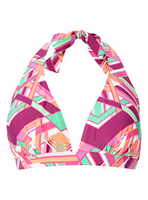 Multicoloured Geometric Print Halter neck Bikini Top