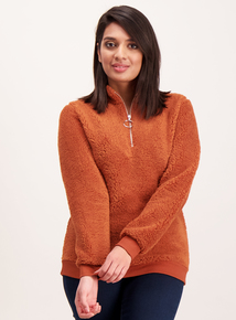 Burnt Orange Fluffy Half Zip Fleece