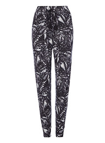 Black palm print joggers