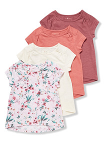 4 Pack Multicoloured Floral T-Shirts (3-14 years)