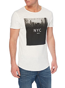 White NYC Raw Edge Tee