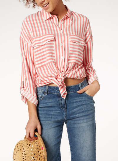 Coral Nautical Stripe Shirt