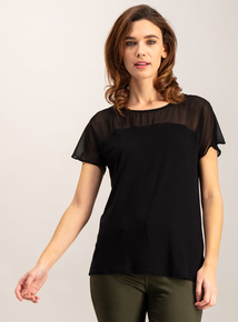 Black Chiffon Short-Sleeved Top