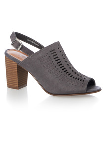 Grey Lazer Cut Mule Sandals