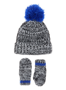Black Two Piece Beanie and Glove Set (1-12yrs)