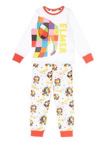 Kids White Elmer PJ Set (9 months - 5 years)