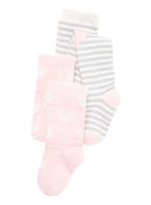Multicoloured Two Pack Heart Yarn Tights (2 - 6 years)