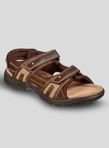 a4d52ff2b9e Brown Leather   Textile Trekker Sandal