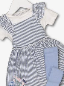 Blue Striped Pinafore Dress, Body & Tights Set (0-24 months)