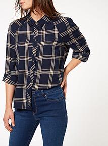 Cold Shoulder Check Shirt