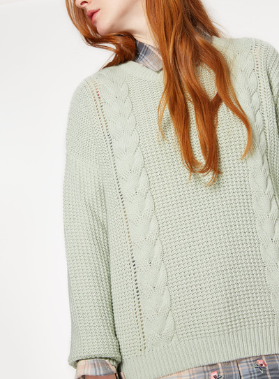 Pale Green Cable Knit Jumper