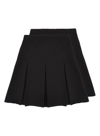 Kids Girls Black Pleated Skirts 2 Pack 13 16 Years Tu Clothing