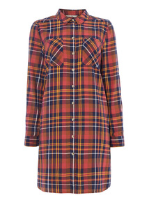 Checked Print Longline Shirt