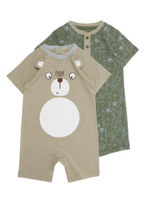 Boys Jersey Rompers 2 Pack (0 - 24 months)