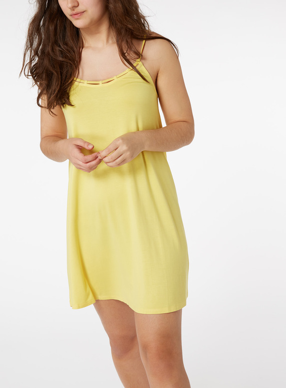 Online Exclusive Yellow Lattice Trim Mini Dress