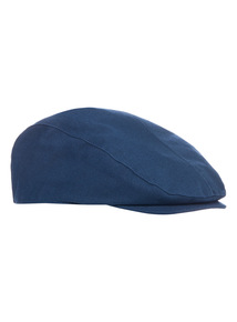 Navy Linen Mix Flat Cap
