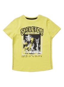 Yellow 'Skeleton Island' Print T-Shirt (9 months-6 years)