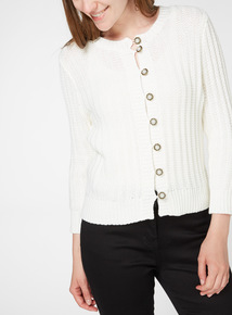 Floral Pearl Button Knitted Cardigan
