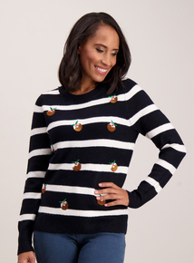 Christmas Pudding Navy Stripe Jumper