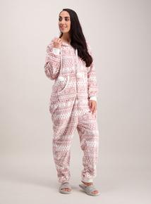 Pink Aztec Print Fleece All In One