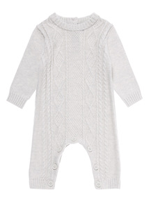 Boys Grey Knitted Cable Romper (0-24 months)