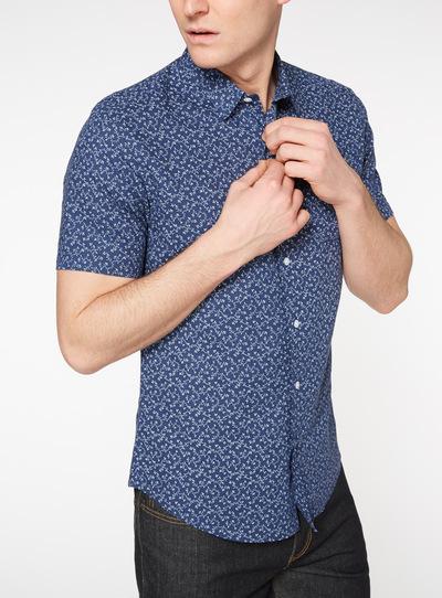 1d8dfc8c06d Holiday Shop Navy Slim Fit Floral Print Linen Rich Shirt