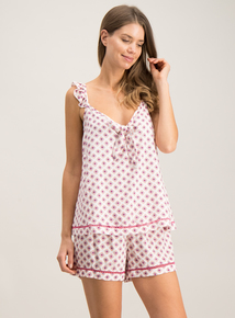 e59a00a083e6 White   Pink Tile Print Woven Shorty Set