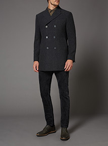 Charcoal Twill Over Coat