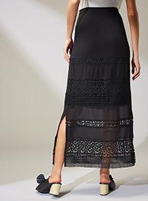 Premium Black Lace Maxi Skirt