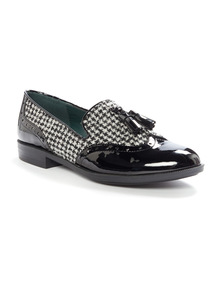 Black Dogtooth Loafers