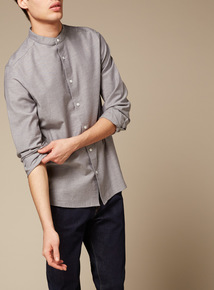 Premium Grey Slim Fit Brushed Twill Grandad Shirt