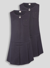 Navy Zip Through Generous Fit Pinafore 2 Pack (3-12 years)